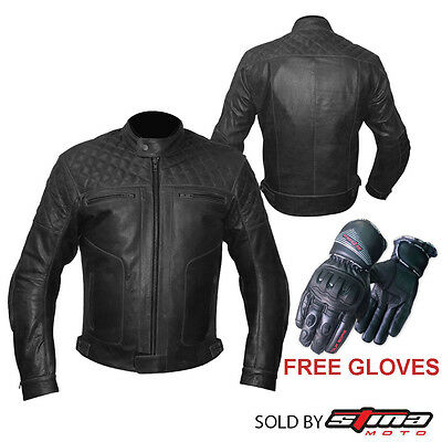 Mens Leather Motorbike Jacket Armoured Protection With Free Motorcycle Gloves