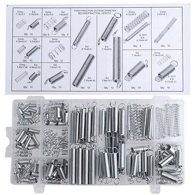200PCS Practical Metal Tension/Compresion Springs Assortment In 20 Sizes NEW