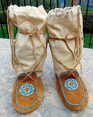Vintage Native American Men's Leather Moccasins ~ Beaded ~ Canvas To Knees