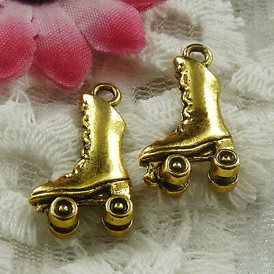 Free Ship 55 pieces gold plated ice skate charms 21x11mm #1798