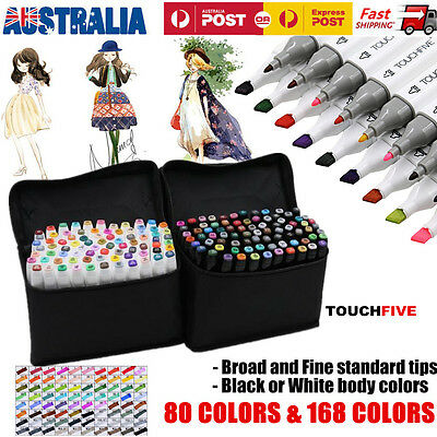 80/168 Color Set Touch Five Alcohol Graphic Art Twin Tip Pen Marker Broad Fine
