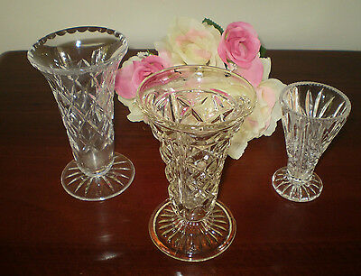 3 Gorgeous Vintage Cut Glass & Crystal Vases