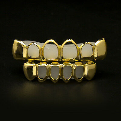 Gold Fangs Teeth Grillz Top & Bottom Grills Set Silicone VampireTeeth Gangster