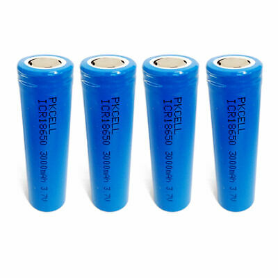 4pcs 18650 Li-ion 3000mAh 3.7V Unprotected Rechargeable Battery Flat Top PKCELL