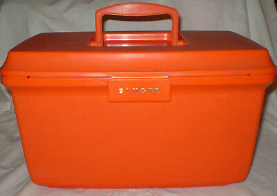 Retro Bright Orange Plastic Singer Sewing Box Carry Case With Lift Out Tray