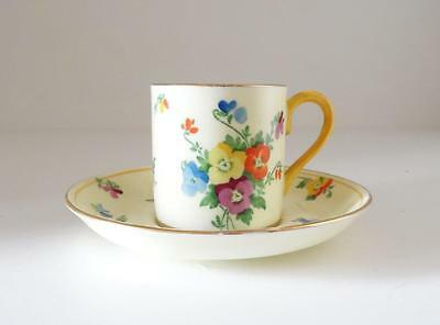 1930's Coffee Can/cup & Saucer Pansy Crown Staffordshire