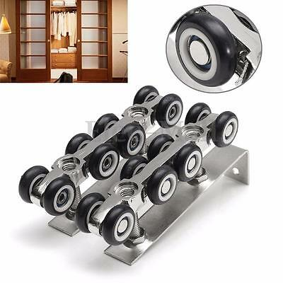 Sliding Wooden Door Closet Hardware Kit 8 Mute Wheels Hangers Roller Pulley Set