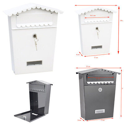 Large Post Box Wall-Mounted Letter Box Marksman Metal Waterproof Lockable + Keys