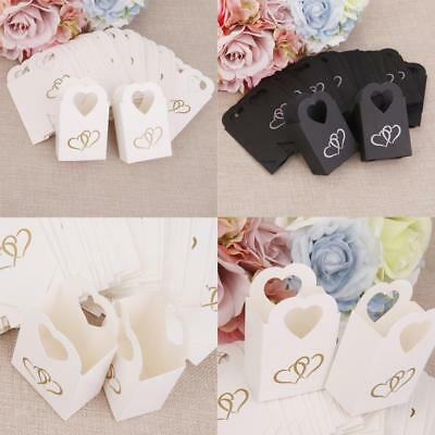 50pcs Heart Wedding Favor Baby Shower Party Sweet Cake Gift Candy Boxes Bags