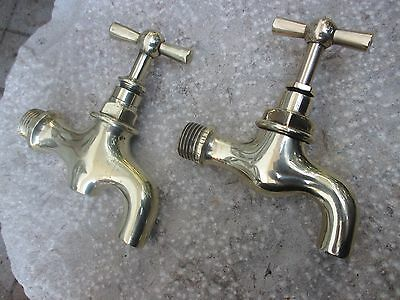 "Architectural Salvage Antique Two Garden Tap Faucet 1/2"" Standart Refurbished"