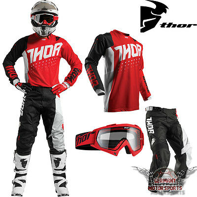 Motocross Kinder Combo Jersey Hose Brille Schwarz Rot Thor Pulse Offroad Mx Sx