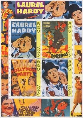 Laurel And Hardy Hollywood Movie Poster Images Angola 2002 Mnh Stamp Sheet