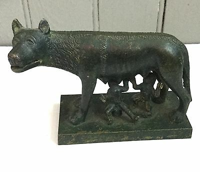 Vintage Antique Bronze Romulus, Remus & the She Wolf Bronze statue circa 1900's