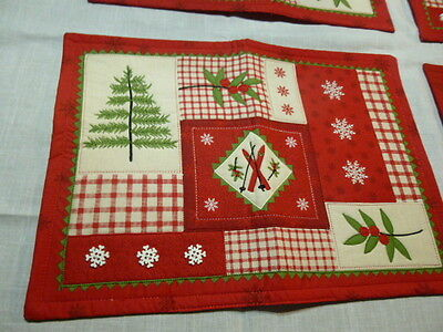 Four Padded Winter Seasonal Placemats - Snowflakes Skis Holly