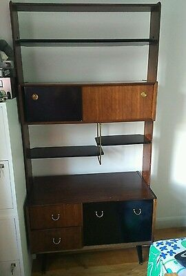 Vintage Danish style teak colour dresser bookcase / some scratches and marks