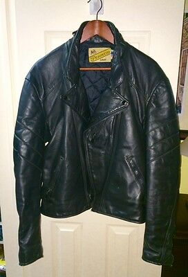 Vintage 80's Perfecto Schott Black Leather Jacket 44 Motorcycle