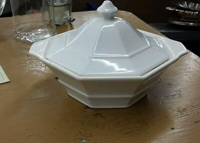 Vintage White ceramic tureen with lid. 10x6