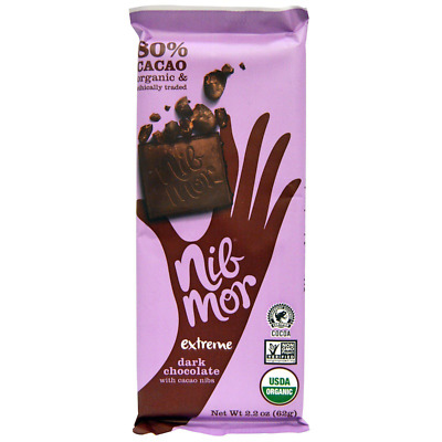 New Nibmor Organic Dark Chocolate Gluten Free Vegan With Cacao Nibs Extreme