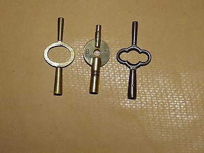 Vintage Carriage Clock Keys X 3