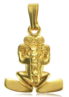 24k GP Pre-Columbian with Spirals and Plain Paws Pendant