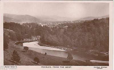 Postcard Peebles Scotland early view From The West RP by Davidson Bros