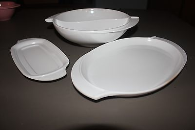Boontonware White Divided Serving Dish Small Platter & Butter Dish Lot 3