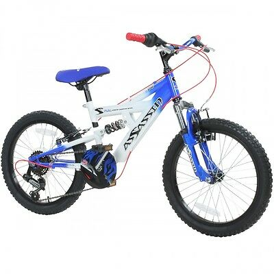 18 Zoll Kinder MTB Concept Assassin Mountainbike Fully Fahrrad Shimano blau