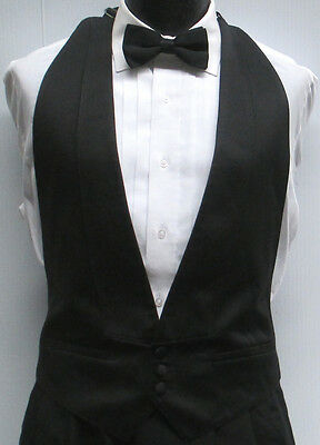 Black Satin Open Back/Backless Tuxedo Vest & Bow Tie Wedding Prom XL(46-50)