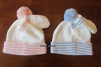 Baby Pom Pom Bobble Hat And Mittens Gloves Winter Set Girls Boys Pink Blue White