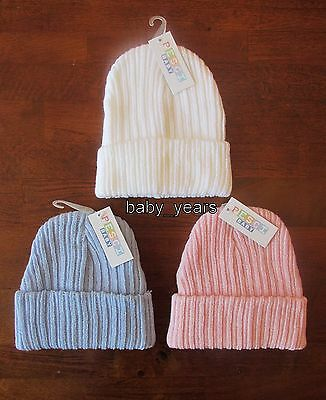 Baby Winter Knitted Hat Beanie Girls Boys White Pink Blue 0-3 3-6 Months New