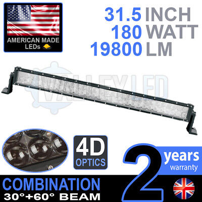 "4D 30"" 180w Cree LED Light Bar Combo IP68 Driving Light Alloy Off Road 4WD Boat"
