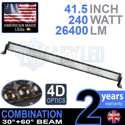 "4D 40"" 240w Cree LED Light Bar Combo IP68 Driving Light Alloy Off Road 4WD Boat"