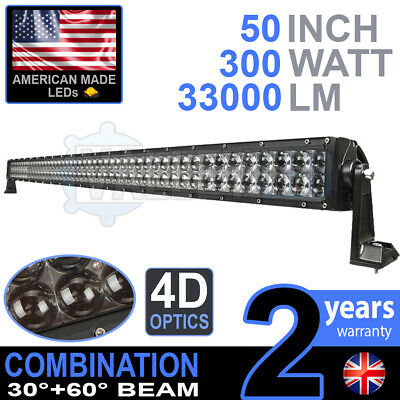 "4D 52"" 300w Cree LED Light Bar Combo IP68 Driving Light Alloy Off Road 4WD Boat"