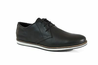 Solebay Hoby Mens Black Real Leather Casual Smart Lace up Shoes