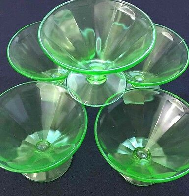 "VINTAGE Federal Green Depression Ware 3 1/2"" Tall Pressed Glass Sherbet Dishes"