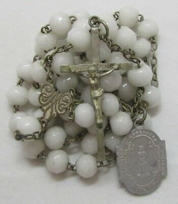 † SCARCE PRIEST'S c1800s ANTIQUE HTF MILK GLASS ROSARY W/ SAINT PONTMAIN MEDAL †