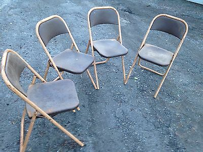 Metal Industrial Folding Chairs Shabby Chic Vintage Cafe Bar Restraunt