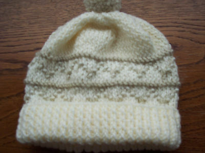 New Hand Knitted Child's Cream Patterned Bobble Hat in Aran Wool age 12/18 mths