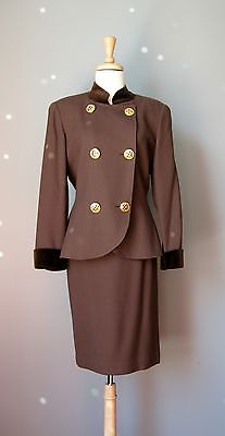 Vintage 80s Albert Nipon Power Suit Size 8 Skirt and Jacket Brown