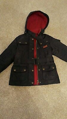 girls navy blue barbour jacket with hood -age 6/7 years immaculate condition