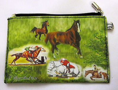 HORSES Coin Purse Makeup Zippered Pouch New Fully Lined Jumping Racing