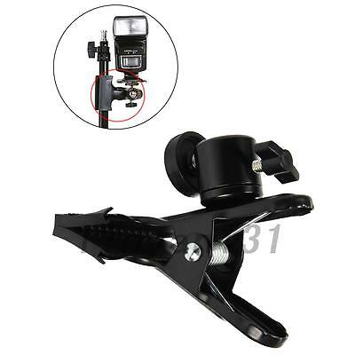 "Metal Strong Clip with 1/4"" Screw For Photo Studio Camera Flash Light Stand New"