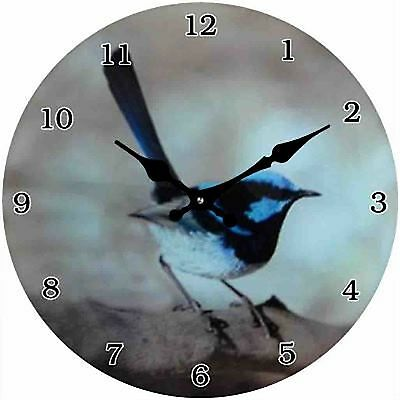 Blue Wren Clock with clear numbers great gift idea - Glass 17cm Wall or Desk