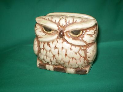 Vintage Hand Crafted And Hand Painted Pottery Owl Napkin Holder ~