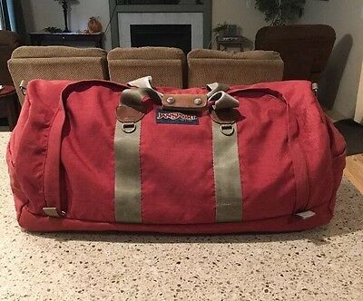 Jansport Made In Usa Vintage Leather Trimmed Duffel Gym Bag Rust