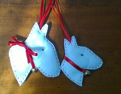 English Bull Terrier Handmade Christmas Decorations x 2