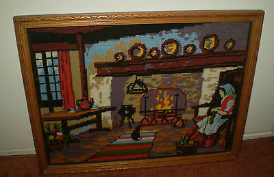 Vintage Professionally Framed Cross Stitch Tapestry~Lady Knitting With Cat