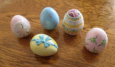 Lot of FIVE Vintage Ceramic Colorful Hand Painted Easter Eggs ~ Display Decor