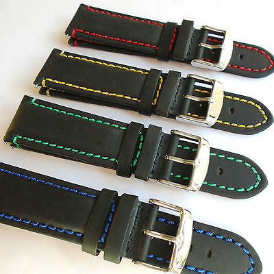 MUSTANG Black Leather Watch Strap Padded Stitched 20 or 22mm Choice of Colour