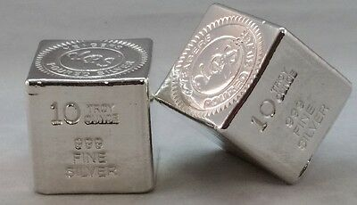 10 oz Hand Poured 999 Silver Bullion Bar by Yeagers Poured Silver YPS - Cube